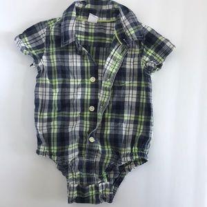 Baby Gap Plaid Button Up Onesie - size 12-18months